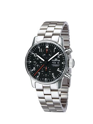 Fortis Pilot Professional Automatic Chronograph Steel Mens Watch Black Dial Day Date 597 22 11 M