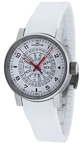 Fortis Spacematic White Red Automatic Day Date Steel Mens Strap Watch 623 10 52 SI 02