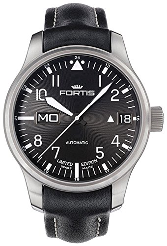 Limited Edition Fortis F 43 Flieger Automatic Day Date Steel Mens Strap Watch 700 10 81 L 01