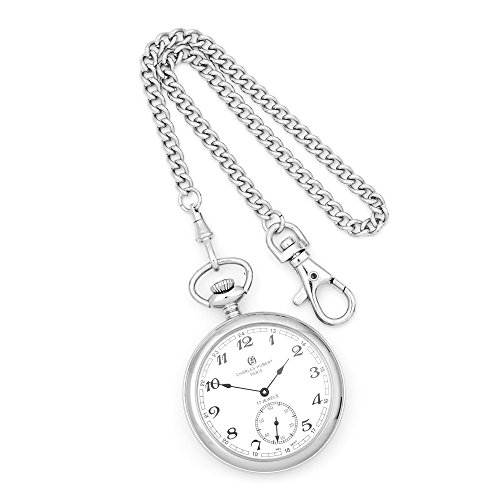 Charles Hubert Edelstahl Open Face Taschenuhr Charles Hubert Stainless Steel Open Face Pocket Watch