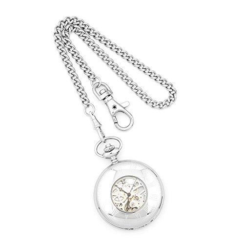 Charles Hubert massiv Edelstahl weisses Zifferblatt Taschenuhr Charles Hubert Solid Stainless Steel White Dial Pocket Watch