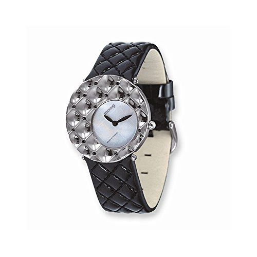Moog Faszination weisses Zifferblatt Schwarz gesteppte Patent Buegel Uhr Moog Fascination White Dial Black Quilted Patent Strap Watch