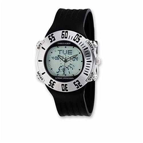 Herren Charles Hubert Gummiband Silber Digitale Chronographenuhr Mens Charles Hubert Rubber Band Silver Digital Dial Chronograph Watch