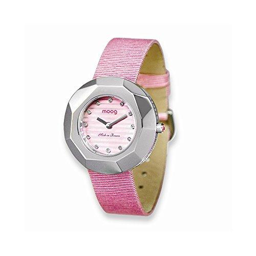 Moog Fashionista Facet Rosa Zifferblatt Rosa Satin Armband Uhr Moog Fashionista Facet Pink Dial Pink Satin Strap Watch