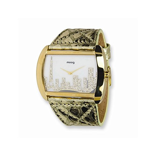 Moog Fashionista Skyline IP Goldkasten Gold Lederarmbanduhr Moog Fashionista Skyline IP Gold Case Gold Leather Strap Watch