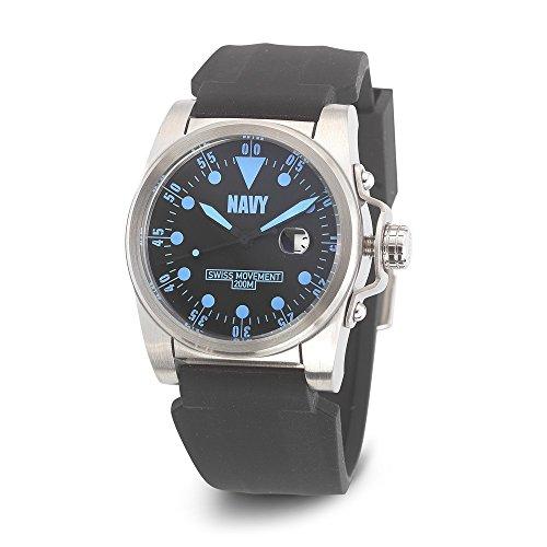 US Navy Handgelenk Ruestung C1 Uhr Schwarzes Blau Dial Blk Silikon Buegel US Navy Wrist Armor C1 Watch Blk Blue Dial Blk Silicone Strap