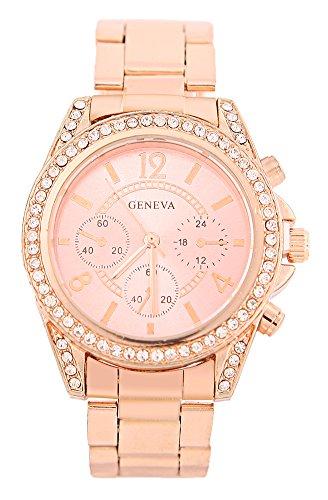 KAIKSO IN Damenmode Genf Bling Kristalledelstahl analoge Quarz Armbanduhr Rose Gold
