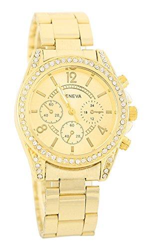 KAIKSO IN Damenmode Genf Bling Kristalledelstahl analoge Quarz Armbanduhr Golden