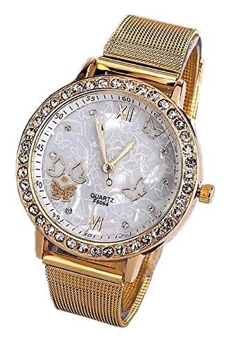KAIKSO IN Lady Frauen Goldene Band Schmetterlings Armband Uhr Quarz Armbanduhr Strass