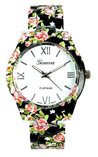 KAIKSO IN Mode fuer Genf Blumen Druck Ceramic Art analoge Quarz Armbanduhr Schwarz 2