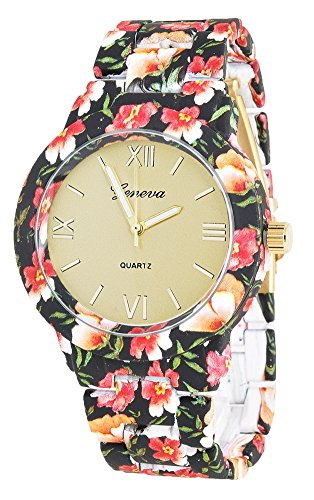 KAIKSO IN Mode fuer Genf Blumen Druck Ceramic Art analoge Quarz Armbanduhr Schwarz 1