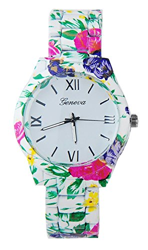 KAIKSO IN Mode fuer Genf Blumen Druck Ceramic Art analoge Quarz Armbanduhr Gruen