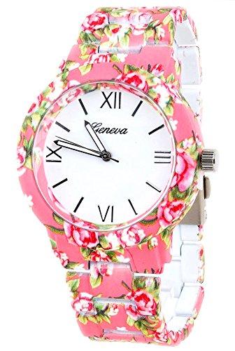 KAIKSO IN Mode fuer Genf Blumen Druck Ceramic Art analoge Quarz Armbanduhr Rosa