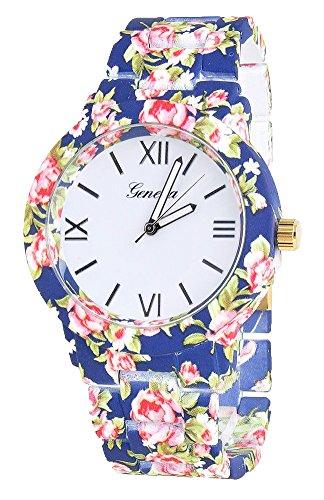 KAIKSO IN Mode fuer Genf Blumen Druck Ceramic Art analoge Quarz Armbanduhr Blau