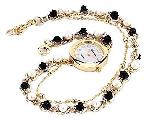 KAIKSO IN Frauen Stunning Genf Perlen Blumen Armband Quarz analoge Armbanduhr