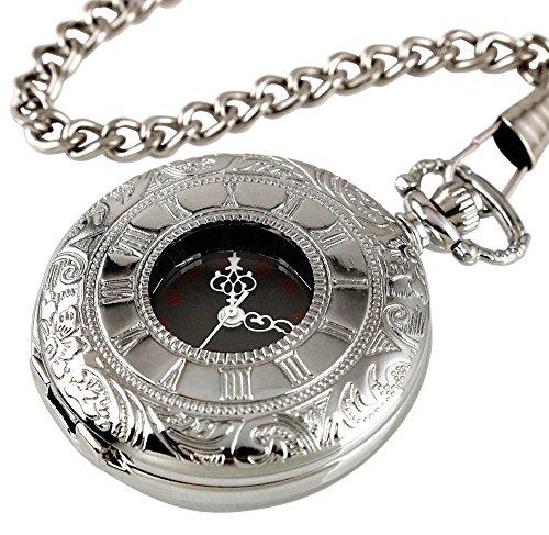 KAIKSO IN Vintage Roman Silber Edelstahl haengende Kettenhalsketten Quarz Taschen Uhr