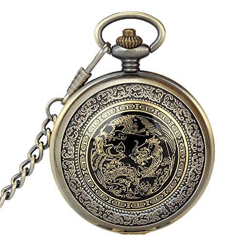 KAIKSO IN Weinlese antiker Steampunk Quarz haengende Kettenhalsketten Taschen Uhr Geschenk
