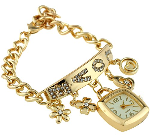 KAIKSO IN Mode Damen Chic Liebe Rhinestone Edelstahl Kettenarmband Armbanduhr