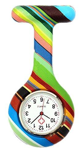 KAIKSO IN Bunte Silikon Edelstahl runden Zifferblatt Quarz Fob Quarz Taschen Krankenschwester Uhr Nettes K