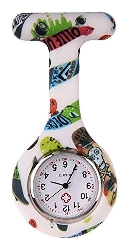 KAIKSO IN Bunte Silikon Edelstahl runden Zifferblatt Quarz Fob Quarz Taschen Krankenschwester Uhr Nettes D