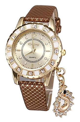 KAIKSO IN Art und Weise Dame Kleid Uhren Schwan haengende Armbanduhr Quarz Armband Armbanduhr Khaki