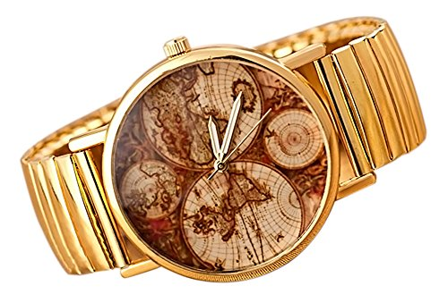 KAIKSO IN New Earth Weltkarte Uhr gold gott Fall PU Leder Band Quarz Armbanduhr fuer Maenner Legierung