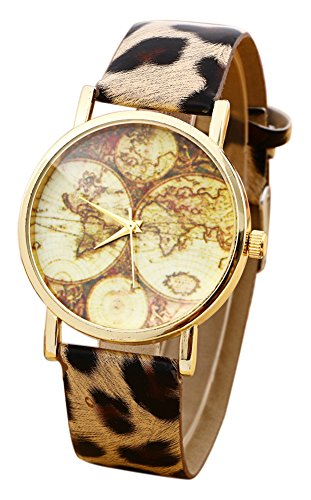 KAIKSO IN New Earth Weltkarte Uhr gold gott Fall PU Leder Band fuer Maenner Leopard