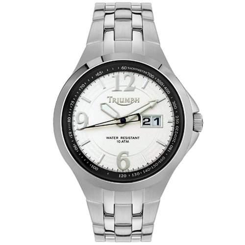 Triumph Motorcycles Herrenuhr 3001-22 weisses Zifferblatt, Big Date - Mens Silver Tone White Dial Watch
