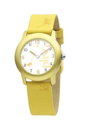 Kipling Fun Monkey-Gelb Maedchen Quarz-Uhr mit weissem Zifferblatt Analog-Anzeige und Gelb Lederband k9400300
