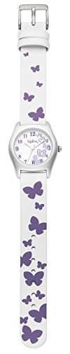 Kipling violett Butterfly Girl Quarz-Uhr mit weissem Zifferblatt Analog-Anzeige und Weiss Lederband k9400395