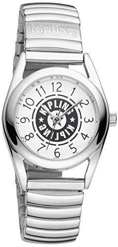 Kipling Kipling Kinder Armbanduhr Quarz, weißes Zifferblatt Analog-Anzeige, Silberfarbenes Edelstahl-Armband K9400479
