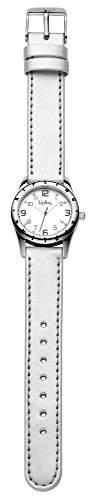 Kipling Silber Metallic Maedchen Quarz-Uhr mit weissem Zifferblatt Analog-Anzeige und Silber Lederband k9400484