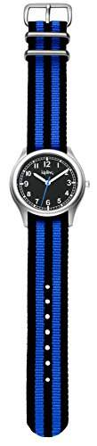 Kipling Vintage Boy-Blau Stripe Boy Quarz-Uhr mit schwarzem Zifferblatt Analog-Anzeige und Stoff blau Gurt k9400490