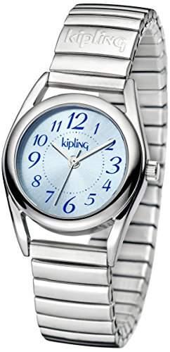 Kipling blau Expander Maedchen Quarz-Uhr mit Blau Zifferblatt Analog-Anzeige und Silber Edelstahl Armband k9400540
