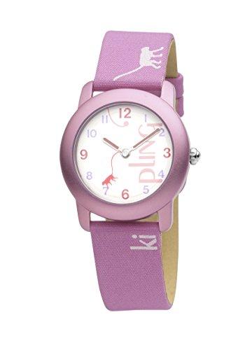 Kipling K9400342 Maedchen Quarzuhr mit weissem Zifferblatt Analog Anzeige Lederband in Rosa