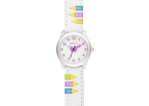 Kipling Kinder Armbanduhr Weiss Leder Strap mit Pink Bleistift k9400605