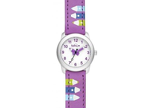 Kipling Kinder Armbanduhr lila Leder Riemen mit Lila Bleistift k9400606