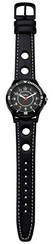 Kipling Sport Boy Quarz Uhr mit schwarzem Zifferblatt Analog Anzeige und schwarz Lederband k9400494