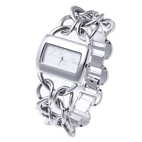 fitTek® Damen Armbanduhr Armreifuhr Armkette Quarzuhr Herz Motiv Edelstahl NEU