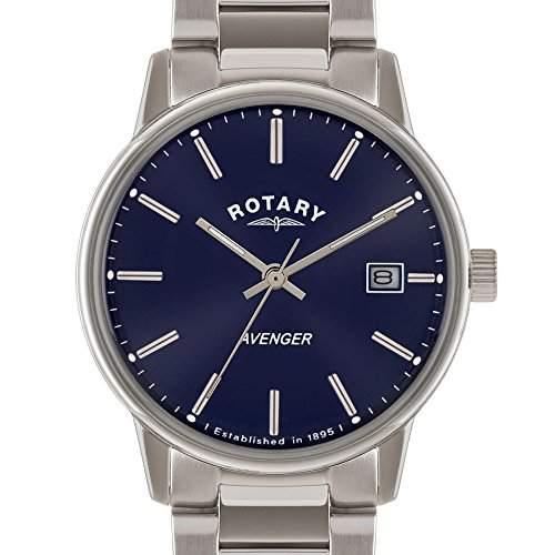 Rotary Herren-Armbanduhr XL Analog Quarz Edelstahl GB0287405