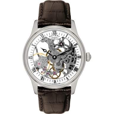 Rotary Herren-Armbanduhr XL Analog Handaufzug Leder GS0252106