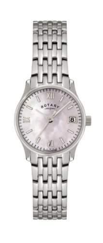 Rotary Damenquarzuhr mit Perlmuttzifferblatt, analoger Zeitanzeige und silbernem Edelstahlarmband - LB0079207