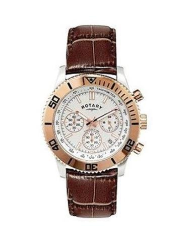 Rotary Herren Armbanduhr Chronograph gs00154 06 braun Lederband Rose Gold Silber