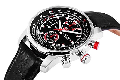 Rotary mit Lederarmband und Tachymeter Funktion wechselbares Armband