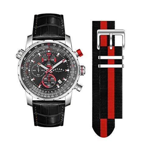 Rotary Herren Chronograph Textil Wechselband Tachymeter GS03641 04 KIT UVP 230EUR