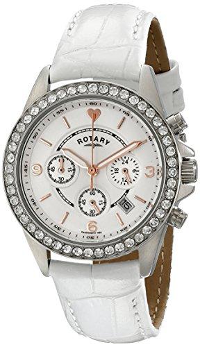 Rotary 35mm Armband Leder Weiss Gehaeuse Edelstahl Quarz Chronograph LS00147 41