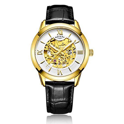 Rotary Herren Armbanduhr Analog Automatik Leder GS00652 21