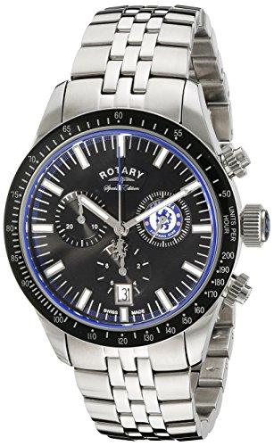 Rotary Herren Armbanduhr 40mm Armband Edelstahl Gehaeuse Schweizer Quarz Zifferblatt Schwarz gb90048 04