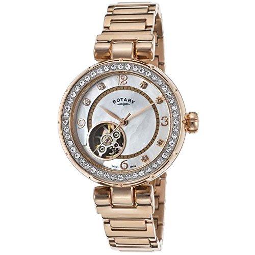 Damen Rotary LB002 A 41SWISS MADE Project D Armbanduhr mit Rose Gold PVD Automatik Bewegung