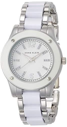 ANNE KLEIN WHITE PLASTIC WOMENS DIAMONDS STAINLESS STEEL CASE UHR 10-9181WTSV